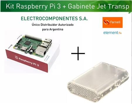Kit Raspberry Pi 3 Element14 + Gab Jet Transparente