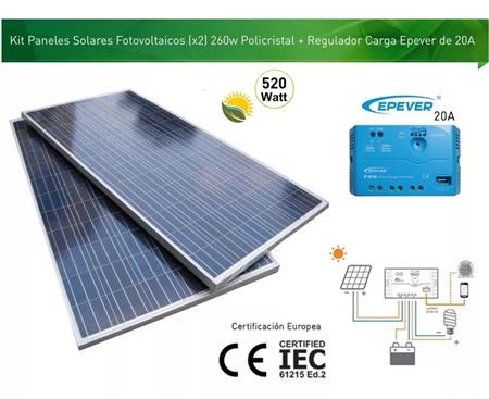 Kit Panel Solar 520w (2x 260w ) + Regulador Epever 20a 24v