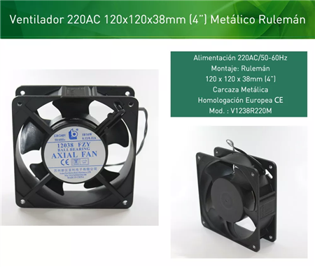 Turbina Cooler Metalico Ruleman 120x120mm 4pulgadas 25mm