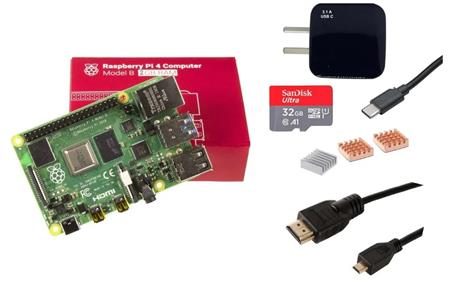 Kit Raspberry Pi 4 B 2gb + Fuente + HDMI + Mem 32gb + Disip