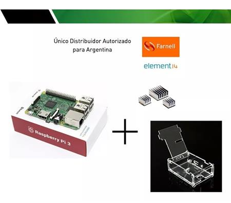 Kit Raspberry Pi 3 Element14 + Gabinete Acril + Disipador