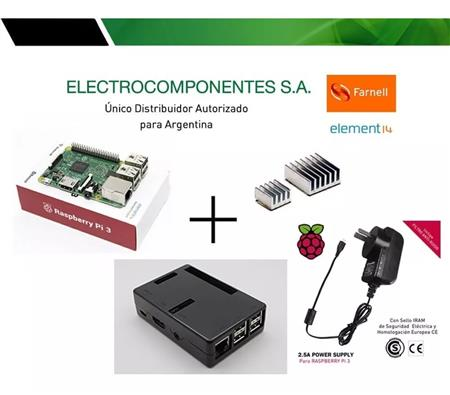 Kit Raspberry Pi 3 Element14 + Fue 2.5a + Gabinete Negro Dis