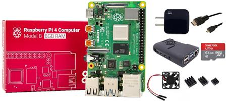 Kit Raspberry Pi 4 B 8gb Original + Fuente + Gabinete + Cooler + HDMI + Mem 64gb + Disip